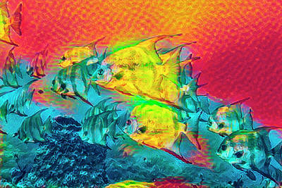 Photograph - Underwater Rainbow Of Abstract Watercolors by Debra and Dave Vanderlaan
