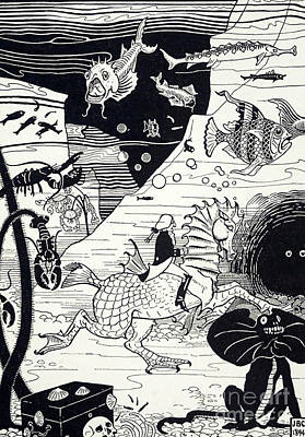 Seahorse Drawing - Underwater Scene From The Surprising Adventures Of Baron Munchausen by Joseph Benwell Clark