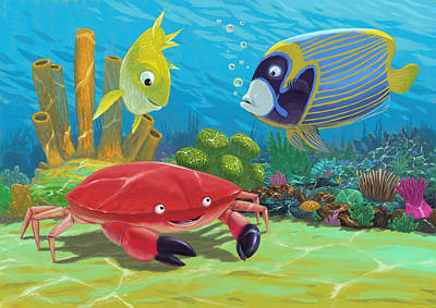 Underwater Sea Friends Art Print by Martin Davey