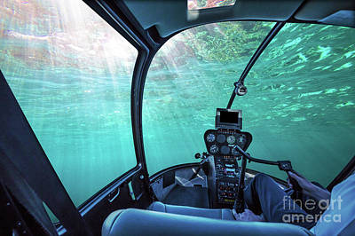 Photograph - Underwater Ship Blue Ocean by Benny Marty