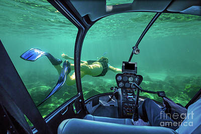 Photograph - Underwater Submarine Woman by Benny Marty