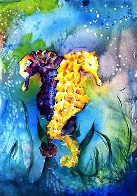 Intertwining Painting - Underwater Tropical Seahorses by Nancylee Bielawski