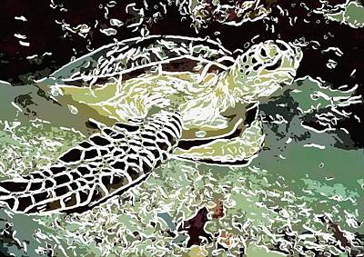 Scuba Painting - Underwater Turtle 1 by Lanjee Chee