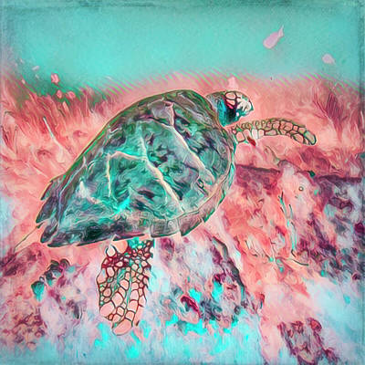 Photograph - Underwater Turtle In Peach And Aqua by Debra and Dave Vanderlaan