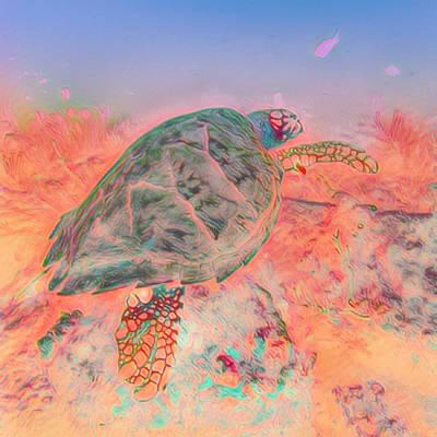 Photograph - Underwater Turtle Pastel Painting by Debra and Dave Vanderlaan