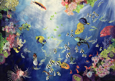 Colorful Tropical Fish Painting - Underwater World II by Odile Kidd