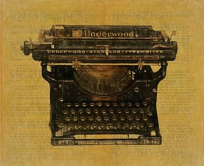 Typewriter Keys Mixed Media - Underwood Typewriter On Text by Dan Sproul