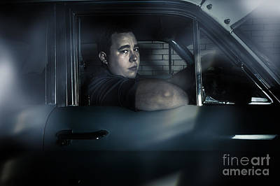 Photograph - Underworld Man Looking Out Car Window In Dark by Jorgo Photography - Wall Art Gallery
