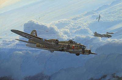 B-17 Wall Art - Painting - Undesirable Company by Steven Heyen