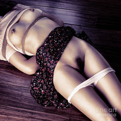 Photograph - Undressed Nude Young Woman Lying On The Floor Tied With Bondage Ropes by Oleksiy Maksymenko