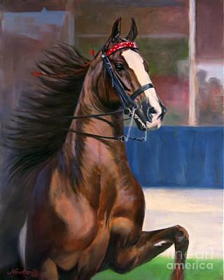 American Saddlebred Painting - Undulata's Spiderman by Jeanne Newton Schoborg