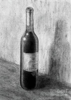 Une Bouteille De Vin Rouge Art Print