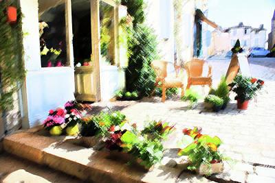 Une Rue En France Street Florist Art Print by Sandra Cockayne