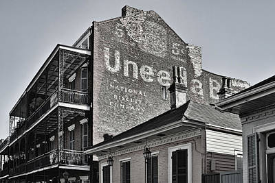 Uneeda 5 Cent Biscuit Company In B/w - New Orleans Art Print by Greg Jackson