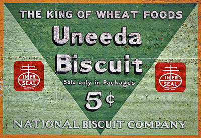 Photograph - Uneeda Biscuit Vintage Sign by Stuart Litoff