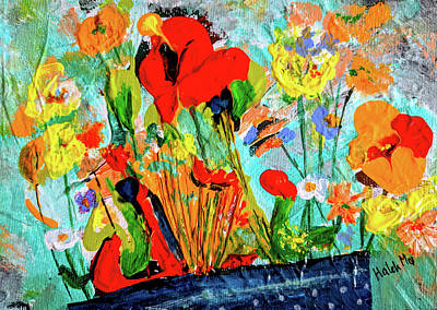 Painting - Unexpected Flower Basket by Haleh Mahbod