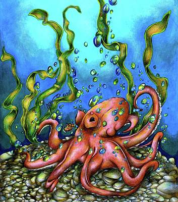 Clown Fish Drawing - Unexpected Octopus by Jessica Nunno
