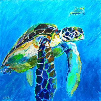 Hawaii Sea Turtle Painting - Unexpected  Sea Visitor by Rick Osborn