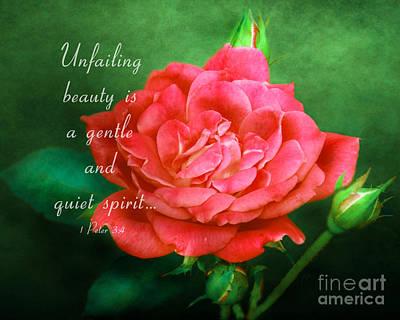 Knockout Digital Art - Unfailing Beauty - Verse by Anita Faye