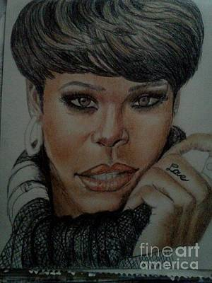 Rihanna Drawing - unfinished Rihanna by Thomasina Marks
