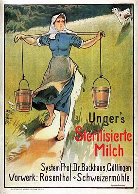 Royalty-Free and Rights-Managed Images - Ungers Sterilisierte Milch - Sterilized Milk - Vintage Milk Advertising Poster by Studio Grafiikka