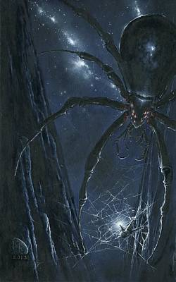 Ungoliant Ensnares Morgoth Original by Kip Rasmussen