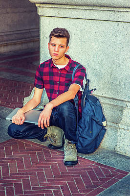 Photograph - Unhappy American Student Thinking Outside In New York by Alexander Image