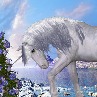 Fawn Digital Art - Unicorn And Blue Bell Flowers by Corey Ford