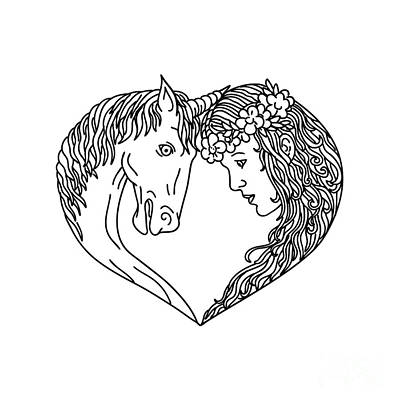 Digital Art - Unicorn And Maiden Heart Drawing by Aloysius Patrimonio