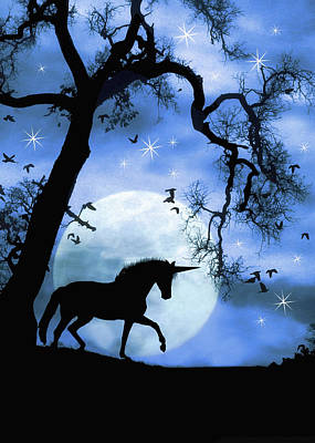 Fantasy Surreal Horse Photograph - Unicorn And Moon Magically, Mystical, Mythical  by Stephanie Laird