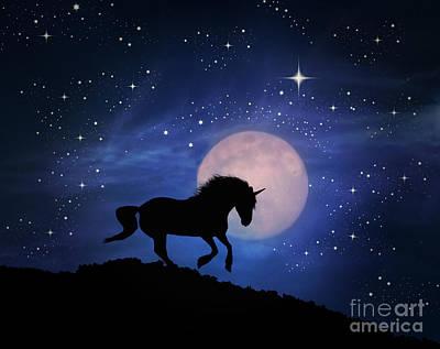 Unicorn And Moon Art Print