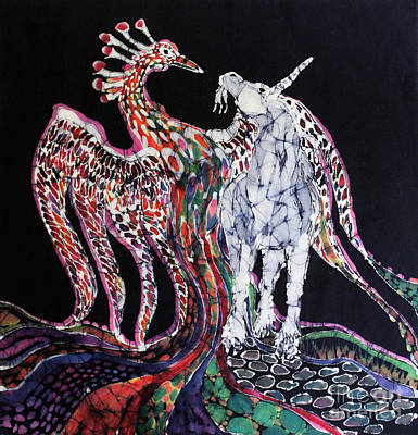 Tapestry - Textile - Unicorn And Phoenix Merge Paths by Carol Law Conklin