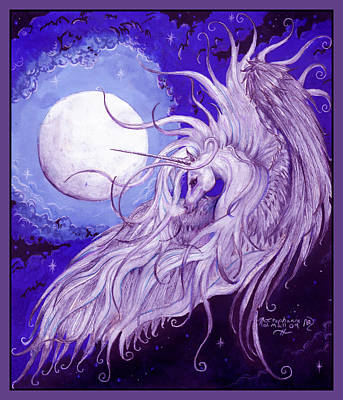 Pegasus Drawing - Unicorn And The Moon by Stephanie Small