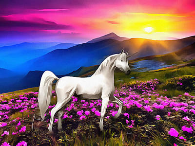 Caruso Digital Art - Unicorn At Sunset by Anthony Caruso