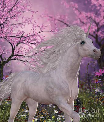 Unicorn Cherry Blossom Glen Print by Corey Ford