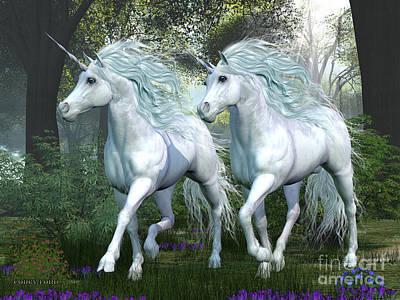 Elm Digital Art - Unicorn Elm Forest by Corey Ford