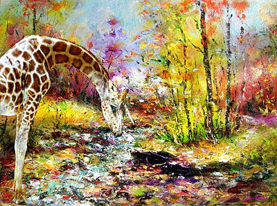 Giraffe Digital Art - Unicorn Giraffe At The River by Laura Botsford