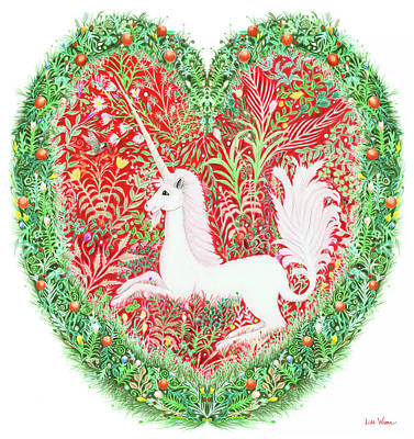 Unicorn Heart With Millefleurs Art Print