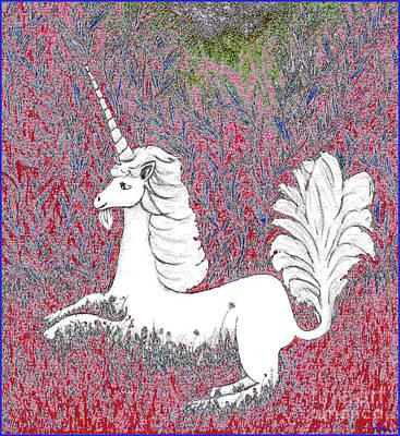 Digital Art - Unicorn In A Red Tapestry by Lise Winne