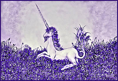 Digital Art - Unicorn In Purple by Lise Winne
