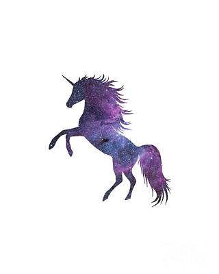 Unicorn Digital Art - Unicorn In Space-transparent Background by Anna Wilkon