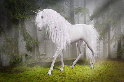 Digital Art - Unicorn In The Forest by Solomon Barroa