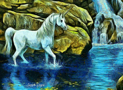 Hound Digital Art - Unicorn In The River - Da by Leonardo Digenio