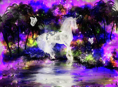 Mixed Media - Unicorn Lake by Lisa Stanley