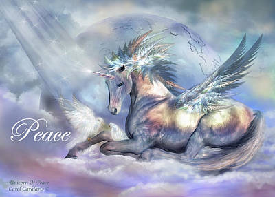 Unicorn Mixed Media - Unicorn Of Peace Card by Carol Cavalaris