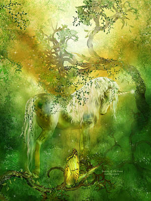 Unicorn Of The Forest  Art Print by Carol Cavalaris