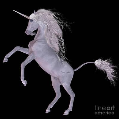 Unicorn On Black Art Print by Corey Ford