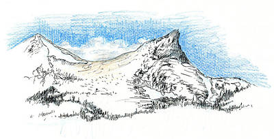 Sierra Drawing - Unicorn Peak In September by Logan Parsons