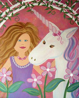 Girl Painting - Unicorn Princess by Samantha Shirley