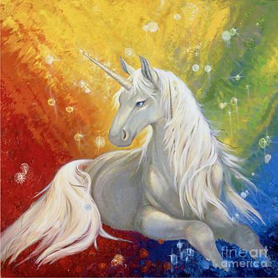 Unicorn Rainbow Art Print by Silvia  Duran